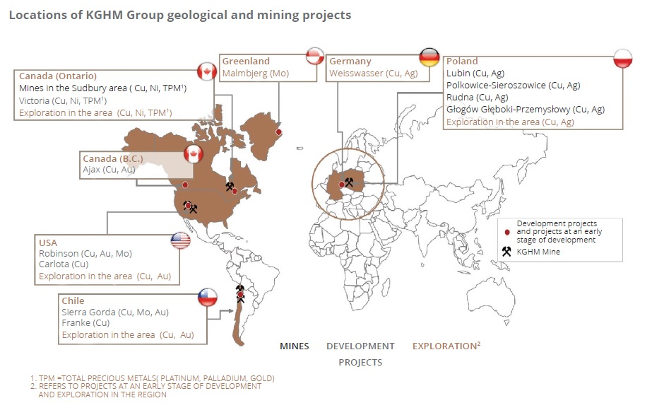 Locations of KGHM Group geological and mining projects